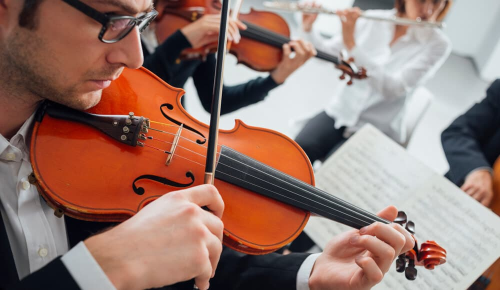 Professional Violinist performing in orchestra.