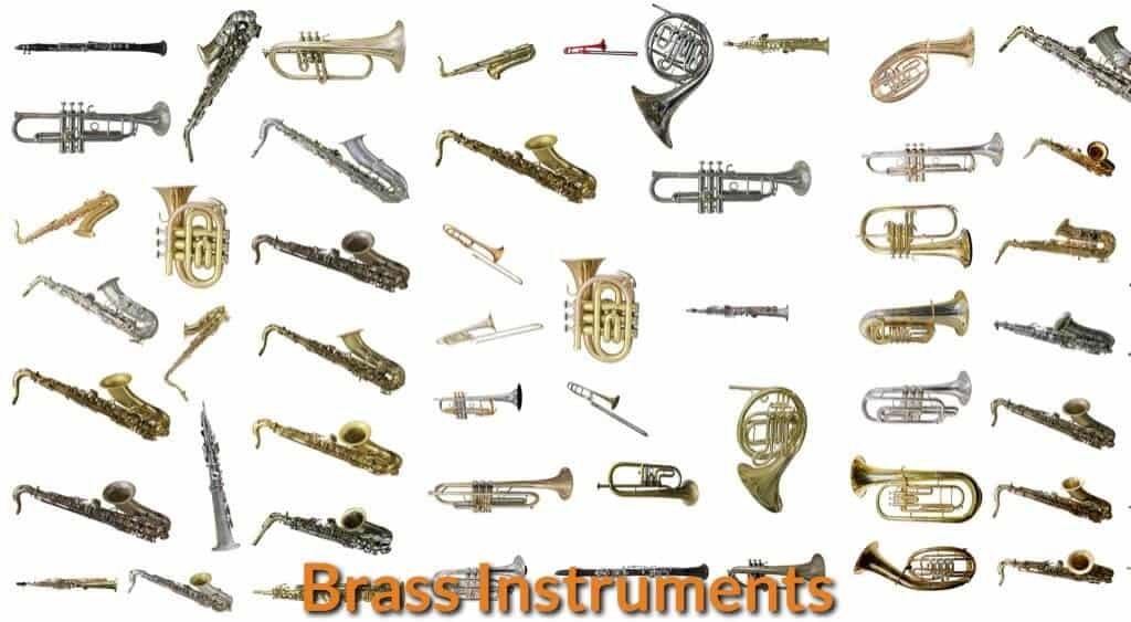 Different types of brass musical instruments.