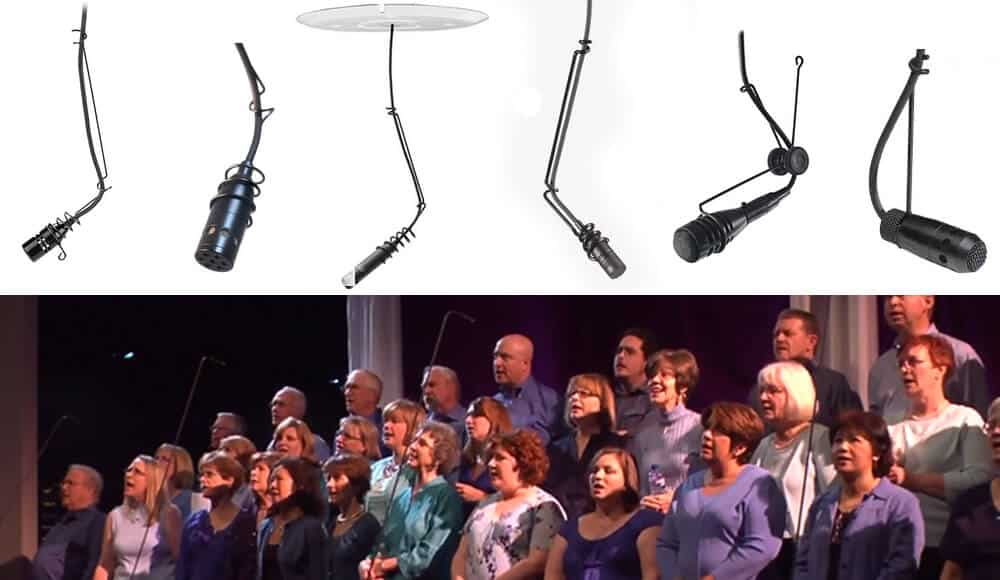 Choir singing with overhead mics.