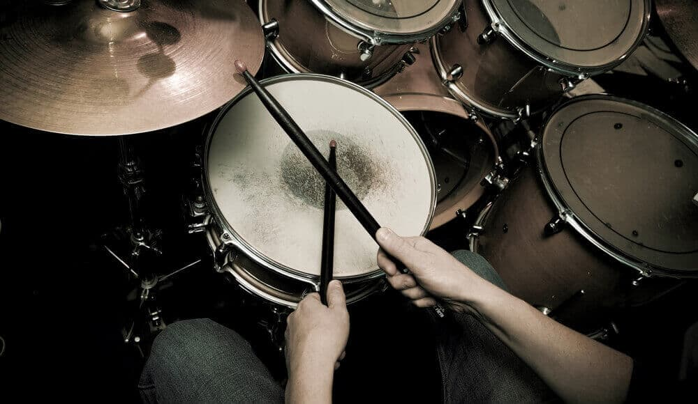 Drummer practising the drum rudiments.