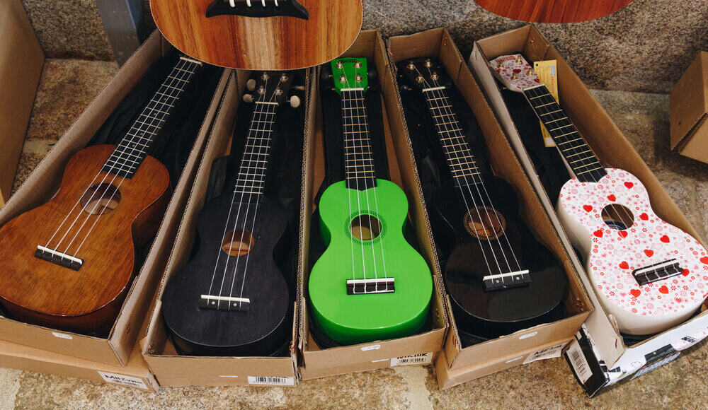 Different types and models of affordable entry-level ukuleles.