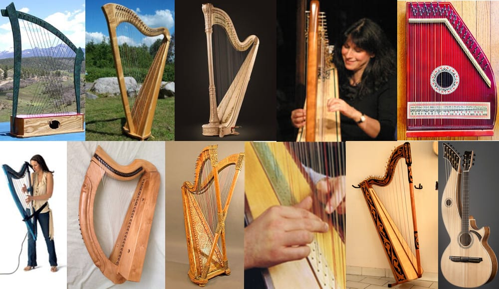 All the different types and sizes of harps.