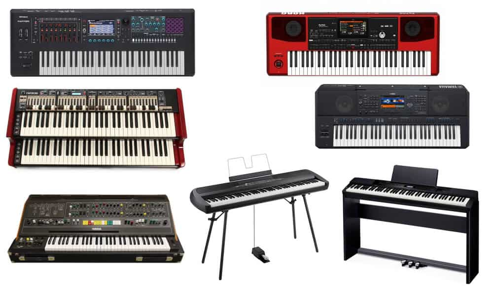 Different types and models of digital electronic keyboard pianos.