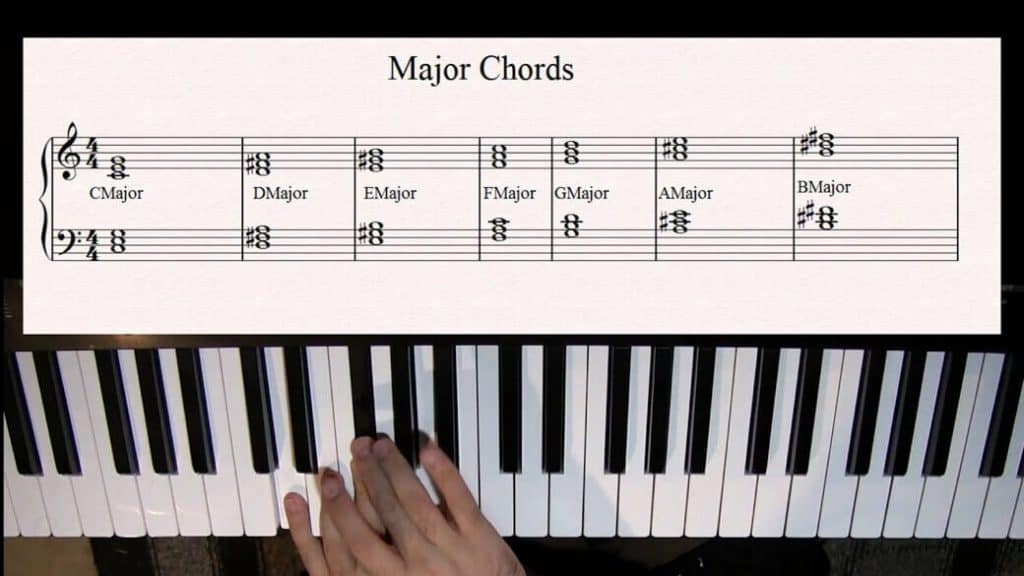 A pianist playing left hand notes.