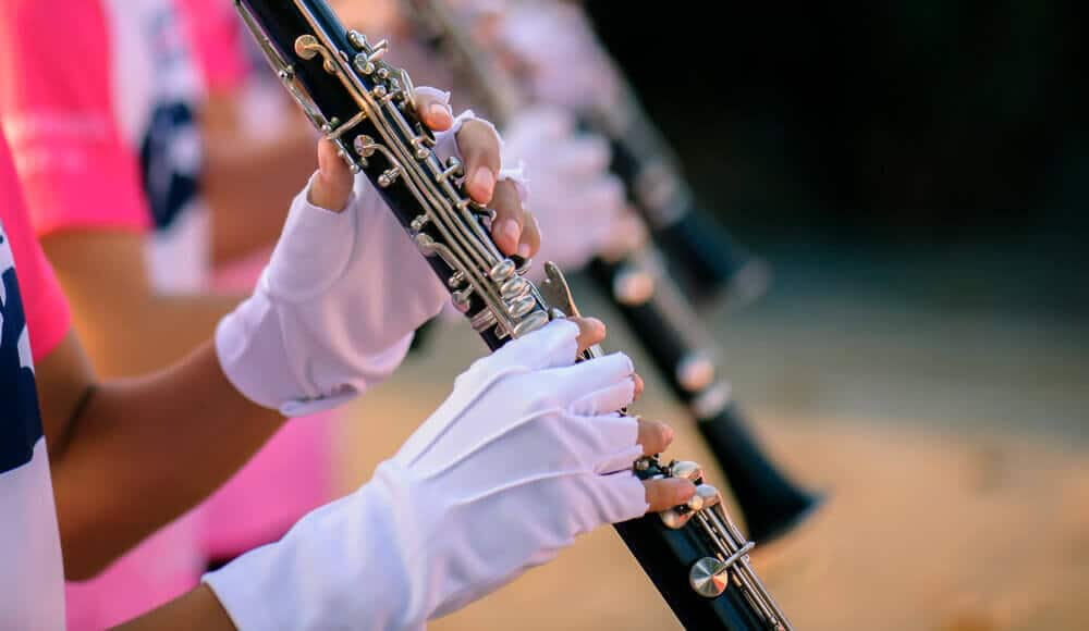 marching band playing clarinet.