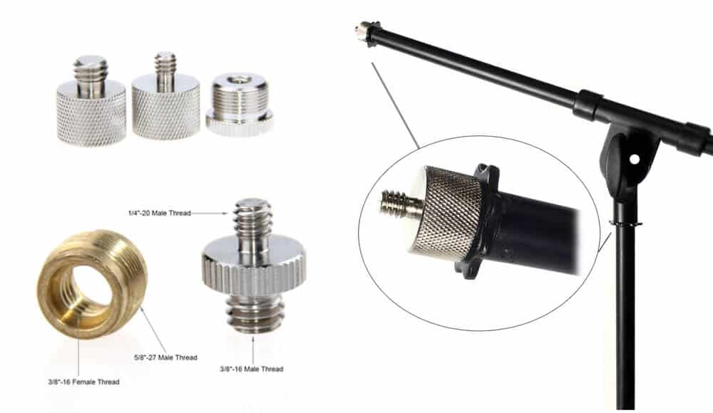 Thread sizes and adapters for mic stand.