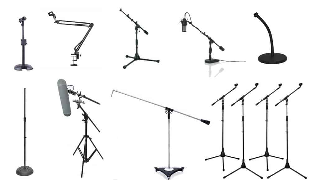 Different types and models of microphone stands.