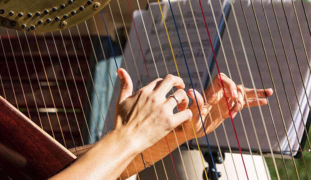 Harpist playing pedal harp.