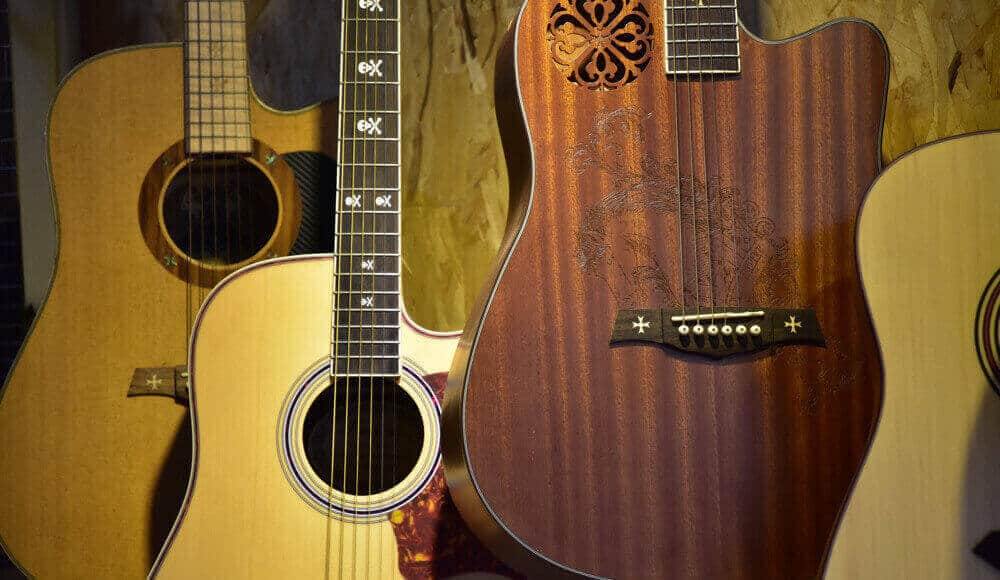 Old and vintage guitar collections of a musician.
