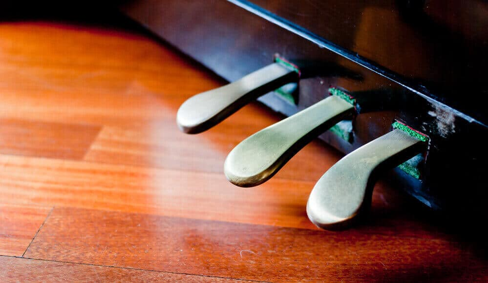 Piano foot pedals on classical piano.