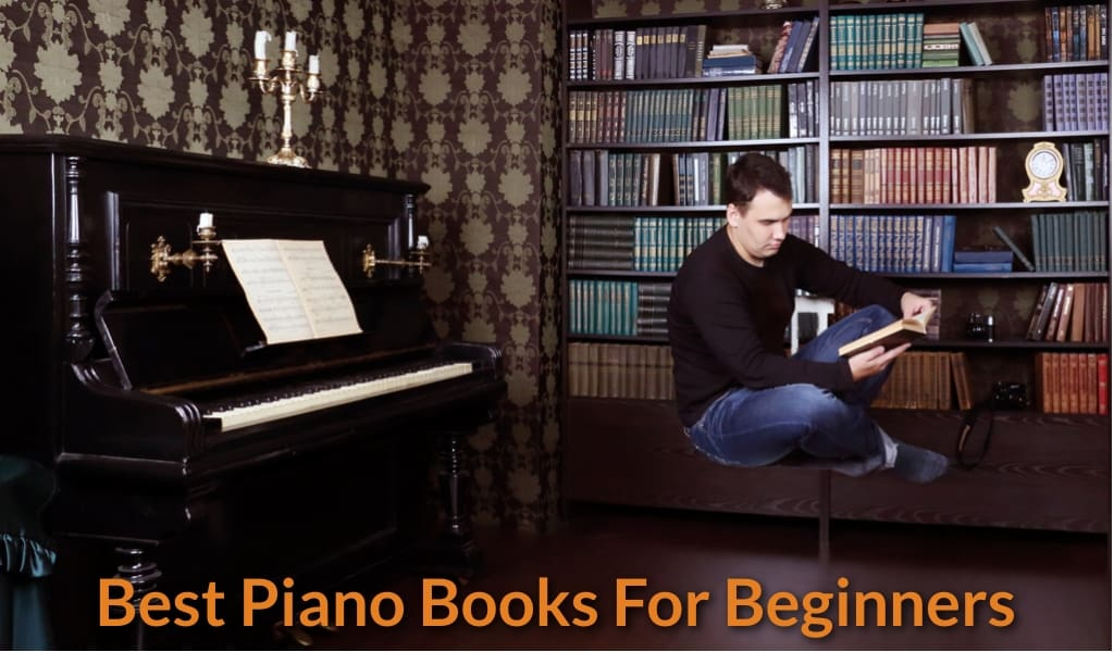 Piano student is reading book.