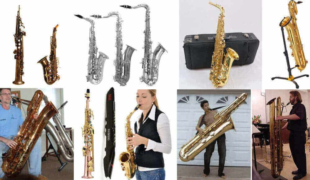 All the different types and models of saxophone instruments.
