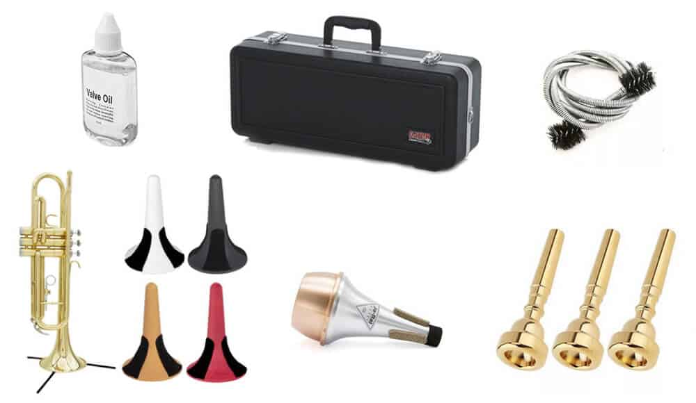 Different types of accessories for trumpet.