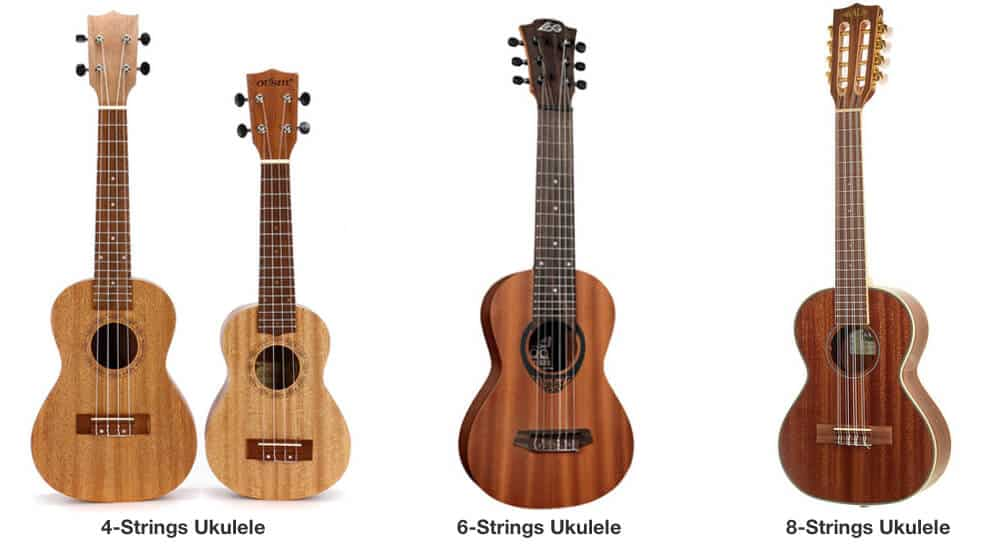Different ukuleles with varied string numbers.
