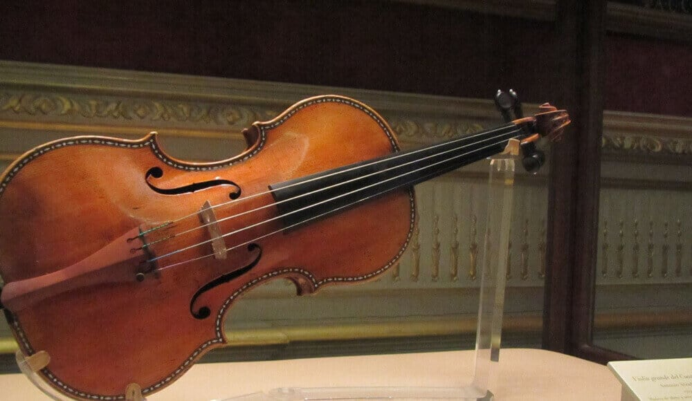 stradivarius violin at the display.